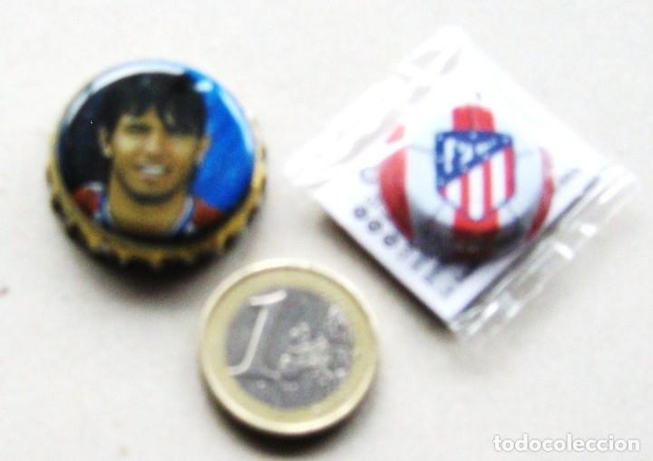 2 CHAPA ATLETICO DE MADRID KUN AGÜERO MAHOU Y LOGO NUEVO DE GREFUSA SIN USAR, NUEVOS 100 % (Coleccionismo Deportivo - Merchandising y Mascotas - Futbol)