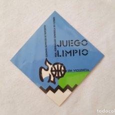 Coleccionismo deportivo: ADHESIVO / PEGATINA JUEGO LIMPIO SIN VIOLENCIA (REAL FEDERACIÓN ESPAÑOLA DE FÚTBOL). Lote 204819897