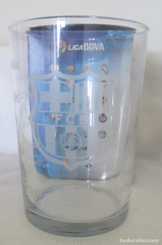 VASO DE CRISTAL F C BARCELONA, PROMOCIÓN BURGUER KING LOS VASOS DE LA LIGA BBVA. EN SU CAJA (Coleccionismo Deportivo - Merchandising y Mascotas - Futbol)