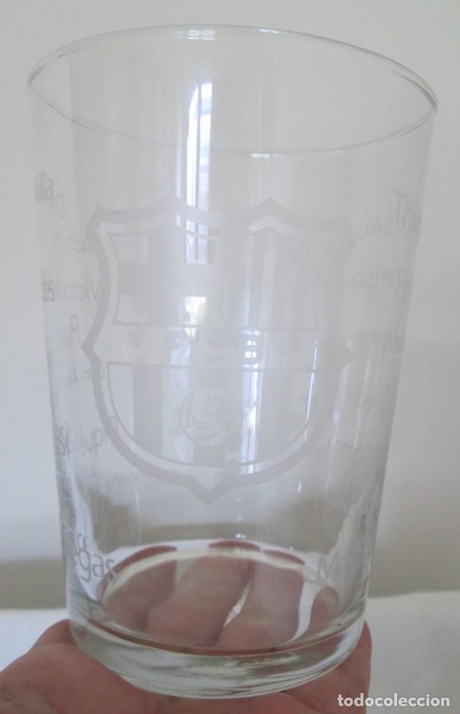 Coleccionismo deportivo: Vaso de cristal F C Barcelona, promoción Burguer King Los vasos de la Liga BBVA. En su caja - Foto 7 - 205830430