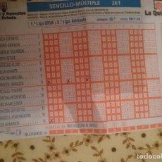Coleccionismo deportivo: QUINIELA FUTBOL ESPAÑA - 26-1-14. Lote 208306545
