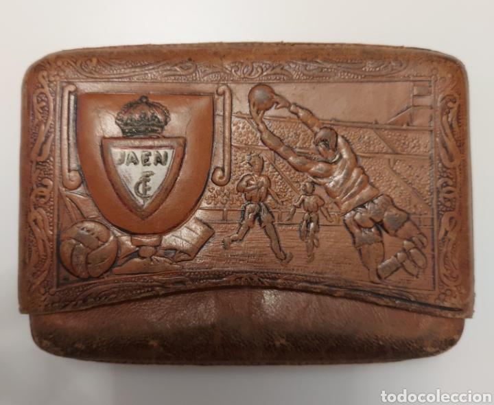 INCREIBLE PITILLERA DEL FUTBOL CLUB JAEN EN PIEL DE UBRIQUE (Coleccionismo Deportivo - Merchandising y Mascotas - Futbol)