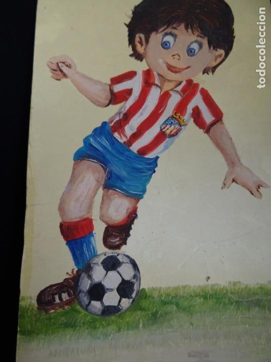 Coleccionismo deportivo: pintado al oleo y firmado.atletico madrid, años 1960.cromo futbol - Foto 3 - 221152338