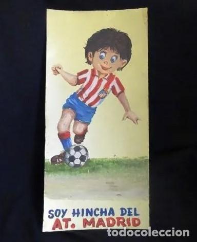 Coleccionismo deportivo: pintado al oleo y firmado.atletico madrid, años 1960.cromo futbol - Foto 2 - 221152338