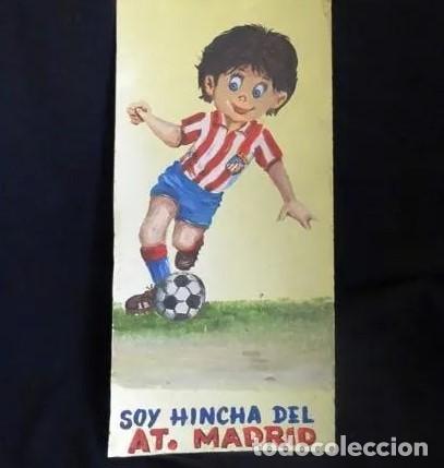 PINTADO AL OLEO Y FIRMADO.ATLETICO MADRID, AÑOS 1960.CROMO FUTBOL (Coleccionismo Deportivo - Merchandising y Mascotas - Futbol)