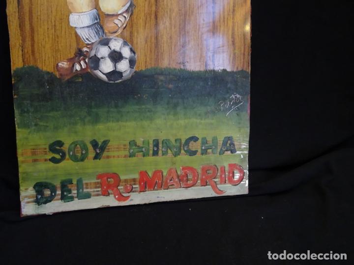 Coleccionismo deportivo: pintado al oleo y firmado. real madrid, años 1960.cromo futbol - Foto 3 - 221152873