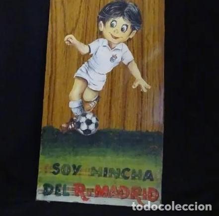 PINTADO AL OLEO Y FIRMADO. REAL MADRID, AÑOS 1960.CROMO FUTBOL (Coleccionismo Deportivo - Merchandising y Mascotas - Futbol)