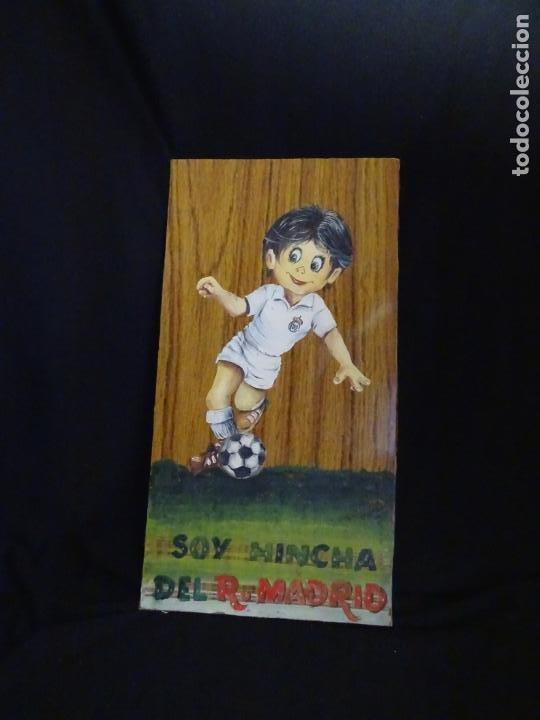Coleccionismo deportivo: pintado al oleo y firmado. real madrid, años 1960.cromo futbol - Foto 2 - 221152873