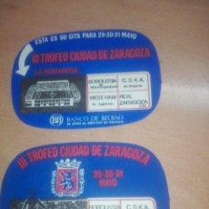 Collezionismo sportivo: PAREJA POSAVASOS FUTBOL VINTAGE III TROFEO CIUDAD ZARAGOZA REAL ZARAGOZA BORUSSIA WEST HAM CSKA. Lote 222566245