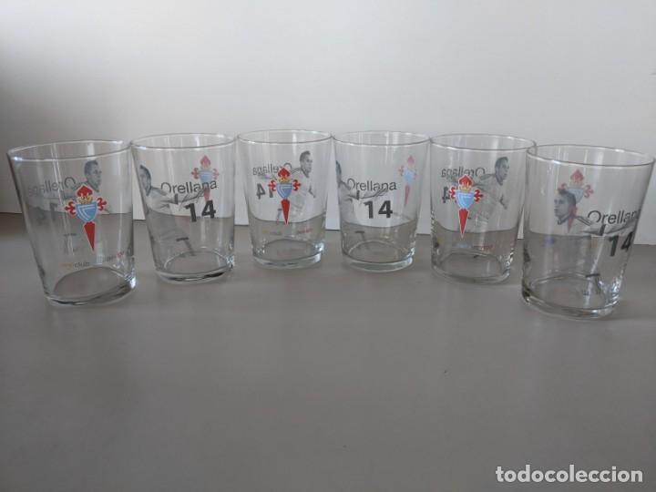 Coleccionismo deportivo: 2011-2012 REAL CLUB CELTA DE VIGO - ORELLANA - JUEGO 6 VASOS DE CRISTAL SIDRA A ESTRENAR - Foto 2 - 223220326