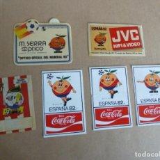 Coleccionismo deportivo: MUNDIAL FUTBOL ESPAÑA 82 NARANJITO LOTE 6 ADHESIVOS PEGATINAS ORIGINALES. Lote 230214555