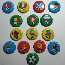 Collezionismo sportivo: LOTE CHAPAS METÁLICAS CHICLE FÚTBOL 96, 15 DIFERENTES. Lote 233883785