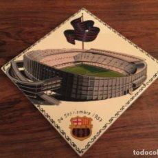 Collectionnisme sportif: FUTBOL CLUB BARCELONA INAGURACION ESTADIO CAMP NOU 24 SEPTIEMBRE 1957 RAJOLA AZULEJO BALDOSA. Lote 254807140