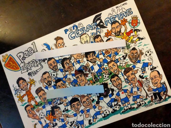DIBUJO CARICATURAS REAL ZARAGOZA FUTBOL PEÑA BELCHITE (Coleccionismo Deportivo - Merchandising y Mascotas - Futbol)