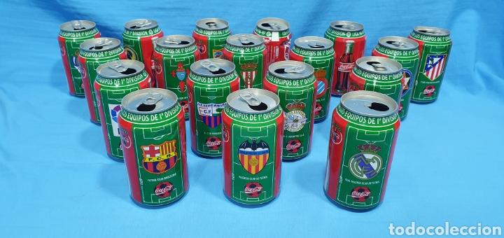 LOTE DE 18 BOTES DE COCA-COLA - EQUIPOS DE 1A DIVISIÓN - LIGA 96 / 97 (Coleccionismo Deportivo - Merchandising y Mascotas - Futbol)