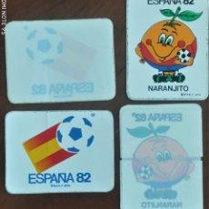 Coleccionismo deportivo: CUATRO PEGATINAS NARANJITO Y ESPAÑA 82 NORMAL Y PARA CRISTAL BUEN ESTADO SIN PEGAR. Lote 271504758
