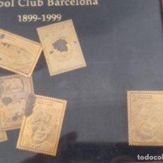 Coleccionismo deportivo: 8 SELLOS DE ORO. CENTENARIO F.C BARCELONA. MARCO CON COLECCION. 1899-1999. BARÇA. Lote 276688648