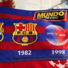 Coleccionismo deportivo: FÚTBOL CLUB BARCELONA BARÇA BUFANDA CON LOS DISTINTOS ESCUDOS (MUNDO DEPORTIVO). Lote 289567783