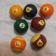 Coleccionismo deportivo: 7 BOLAS DE BILLAR. Lote 29809849