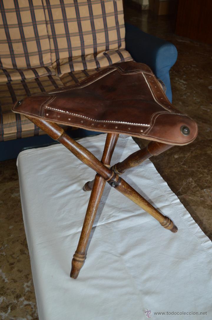 Magn fica y antigua silla plegable caza pesca comprar - Sillas antiguas de madera ...