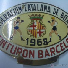 Coleccionismo deportivo - PLACA DEL CINTURÓN FEDERACIÓN CATALANA DE BOXEO 1968 . - 50395991