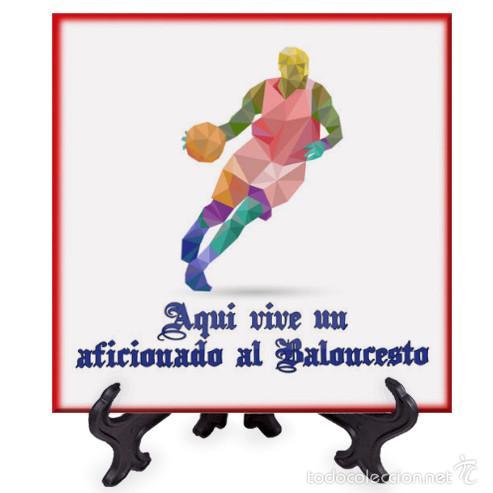 AZULEJO 15X15 AQUI VIVE UN AFICIONADO AL BALONCESTO (Coleccionismo Deportivo - Material Deportivo - Otros deportes)