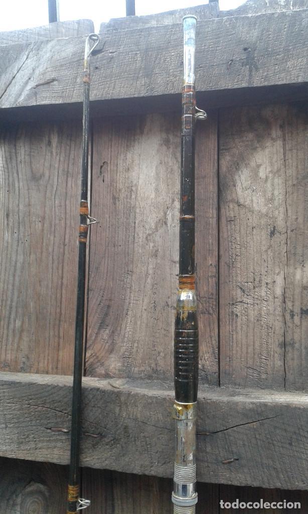 Coleccionismo deportivo: antigua caña de pescar, de madera. dos tramos. - Foto 5 - 64616571