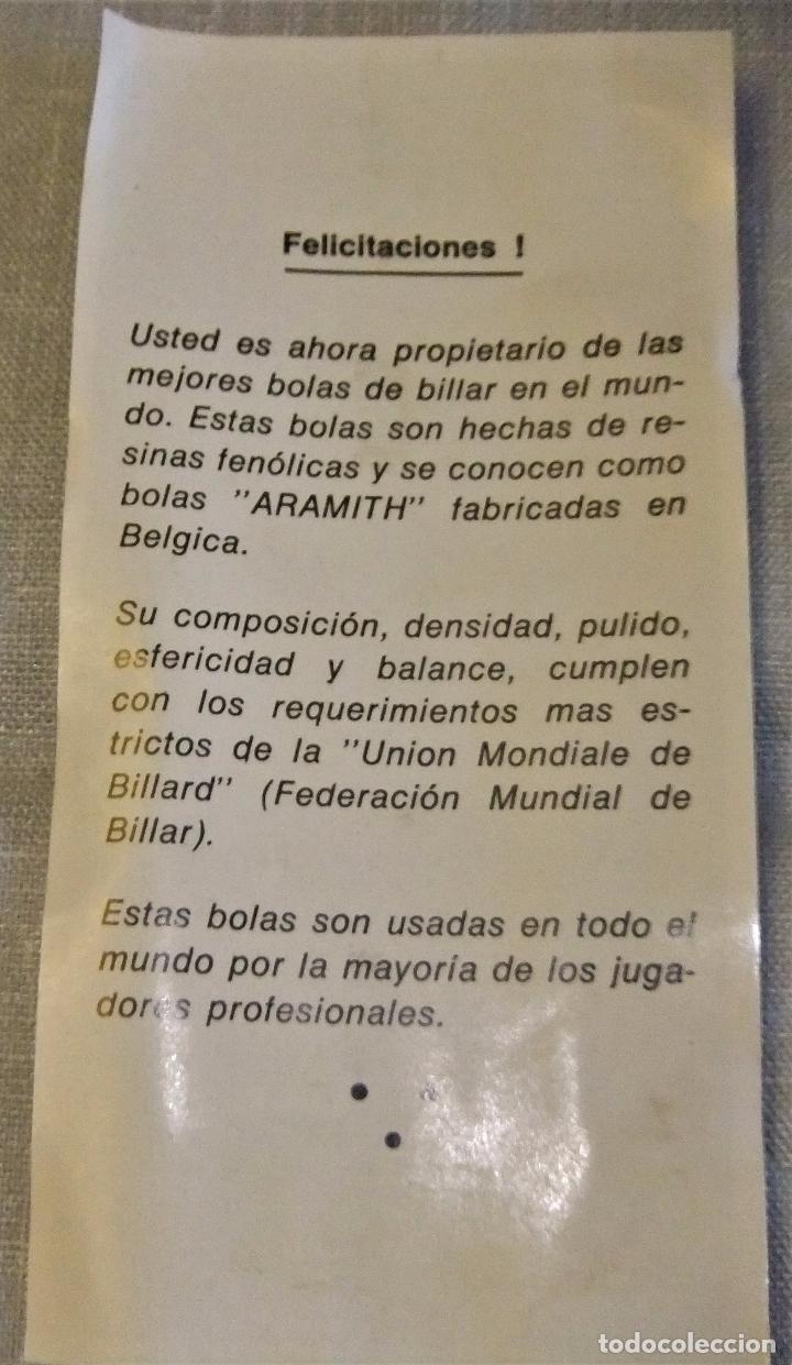 Coleccionismo deportivo: ANTIGUO JUEGO DE BOLAS DE BILLAR MARCA ARAMITH (MADE IN BELGIUM) - Foto 3 - 101211447