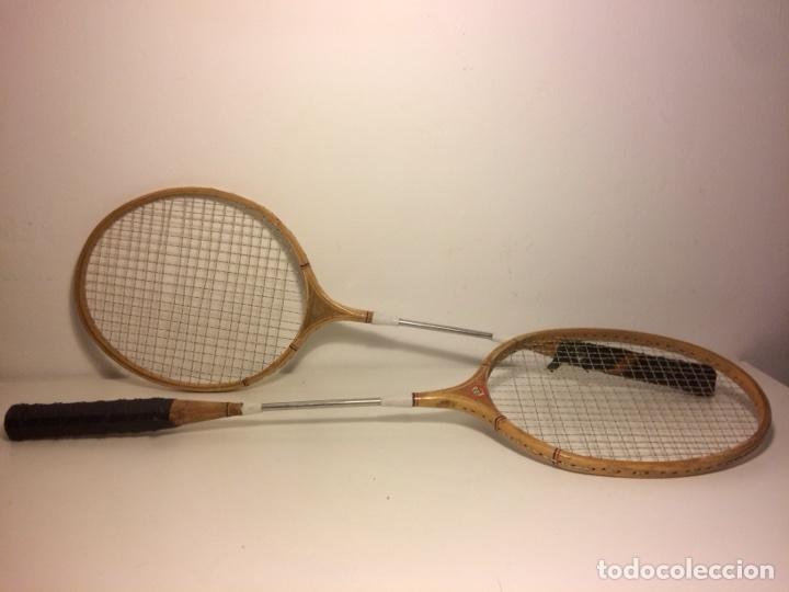 Coleccionismo deportivo: Pareja de raquetas de bádminton de madera de los años 50. - Foto 2 - 102595098