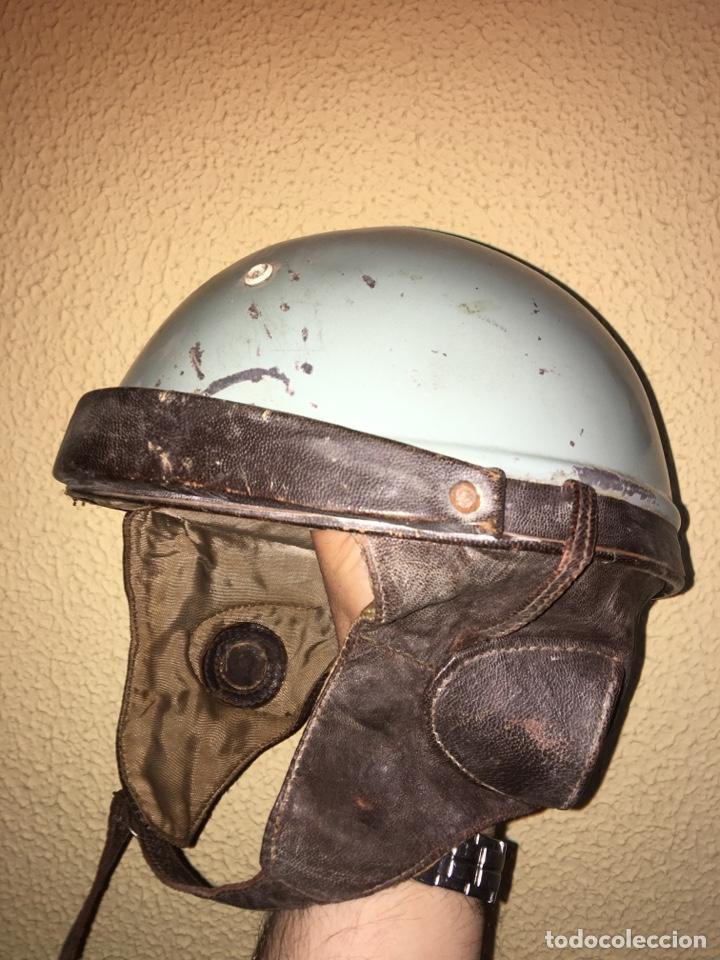 CASCO MOTO ANTIGUO, CUERO (Coleccionismo Deportivo - Material Deportivo - Otros deportes)
