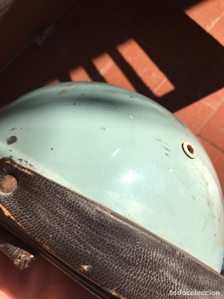 Coleccionismo deportivo: Casco moto antiguo, cuero - Foto 9 - 124649384