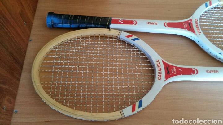 Coleccionismo deportivo: 2 raqueta madera raquetas caravell super - Foto 8 - 135581582