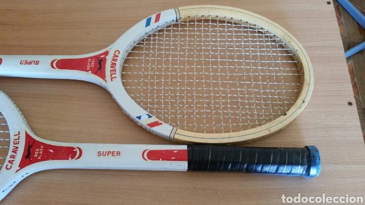 Coleccionismo deportivo: 2 raqueta madera raquetas caravell super - Foto 9 - 135581582
