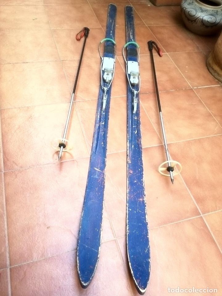 Coleccionismo deportivo: Esquís antiguos - Foto 4 - 137710002