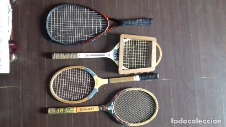 Coleccionismo deportivo: CUATRO RAQUETAS ANTIGUAS OLIMPIC FRONTON - CORTTY FRONTENIS-SPALDING INTERCLUB CON TENSOR Y ATOMIC P - Foto 6 - 142686442