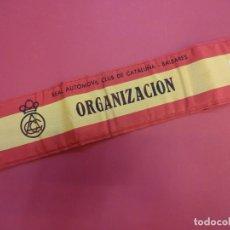 Coleccionismo deportivo: RACC CATALUÑA-BALEARES. BRAZAL ACOLCHADO ORGANIZACION PRUEBA AUTOMOVILÍSTICA AÑOS 1970S. Lote 146500290