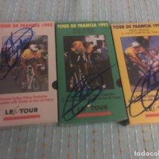 Coleccionismo deportivo: 5 VHS ORIGINALES PRECINTADOS DE MIGUEL INDURAIN DE LOS 5 TOUR DE FRANCIA FIRMADOS POR ÉL. Lote 146784334