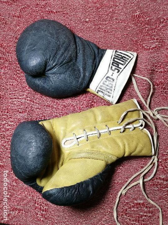 Coleccionismo deportivo: Guantes boxeo vintage años 50-60 adulto - Foto 26 - 146924754