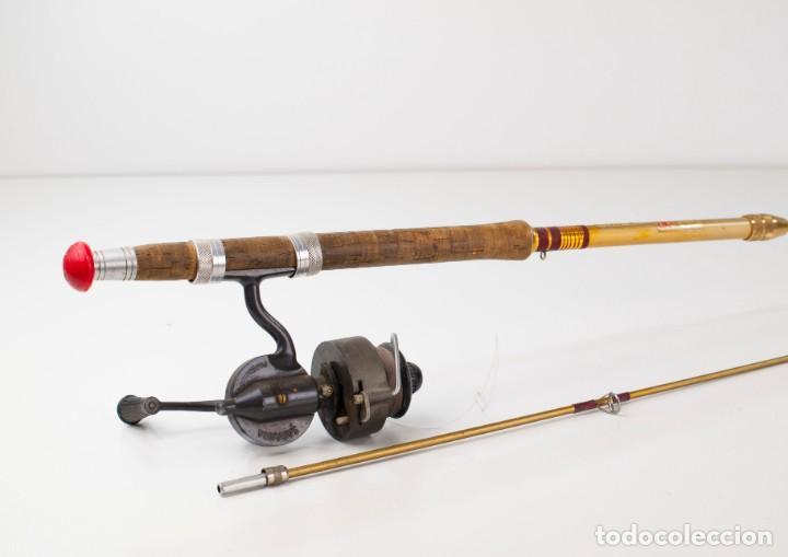Coleccionismo deportivo: Carrete marca Sagarra y caña de pescar - Foto 8 - 147094338