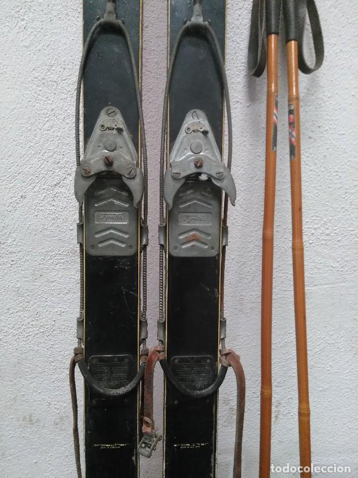 Coleccionismo deportivo: ESQUIS ALEMANES ANTIGUOS CON PALOS DE CAÑA - Foto 5 - 147204158