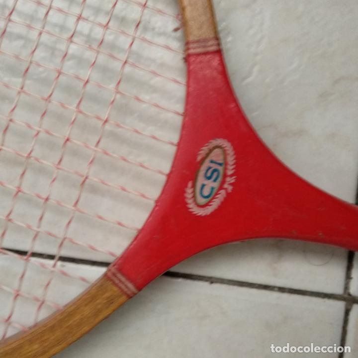 Coleccionismo deportivo: Lote de dos raquetas bádminton madera CSI - Foto 4 - 151593606