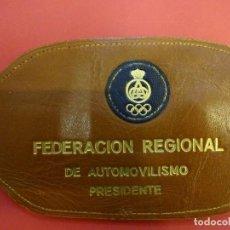 Coleccionismo deportivo: ANTIGUO BRAZAL EN PIEL PRESIDENTE. FEDERACIÓN REGIONAL DE AUTOMOVILISMO. ESPAÑA. RACC. AÑOS 1970S. Lote 152153806