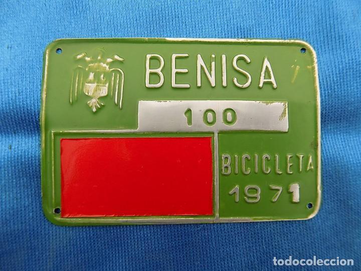CHAPA MATRICULA BICICLETA BENISA (Coleccionismo Deportivo - Material Deportivo - Otros deportes)