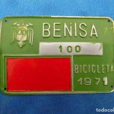 Coleccionismo deportivo: CHAPA MATRICULA BICICLETA BENISA . Lote 158845314