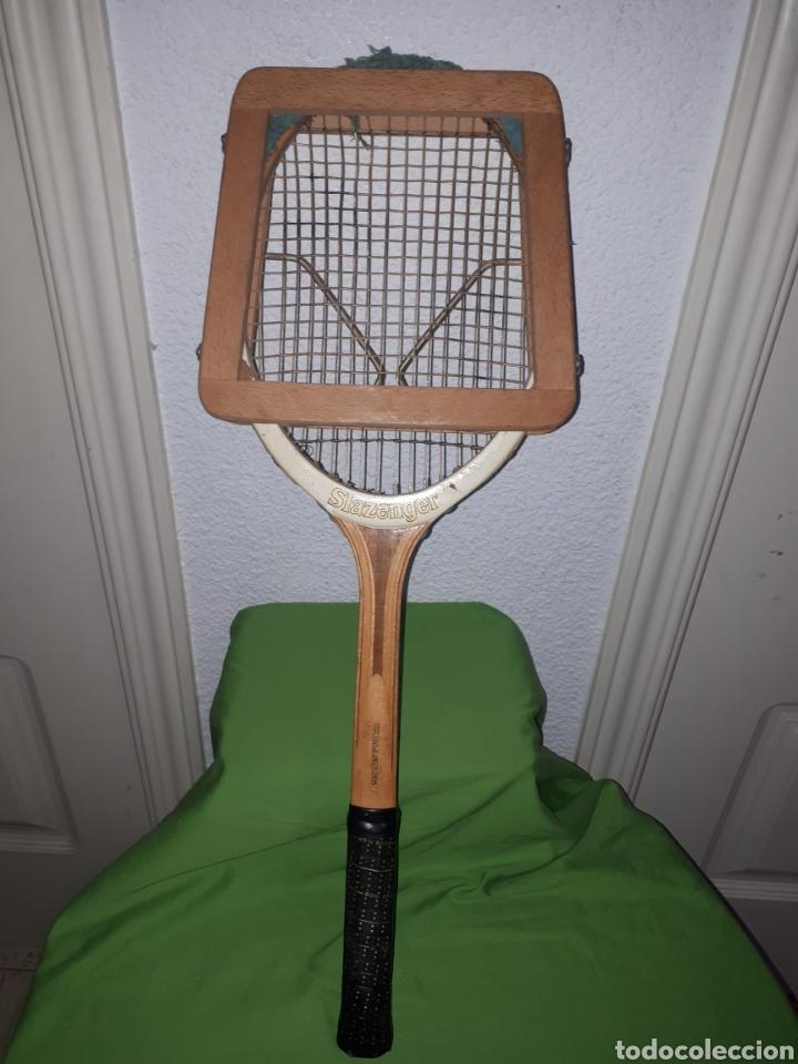 Coleccionismo deportivo: Antigua raqueta de tenis SLAZENGER CHALLENGE CON TENSOR AÑOS 60/70 - Foto 2 - 165721548