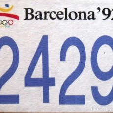 Coleccionismo deportivo: JOSEP MARIA TRIAS. DORSAL ORIGINAL SERIGRAFIADO JUEGOS OLÍMPICOS 1992. Nº 2429. BARCELONA 1992.. Lote 166315134