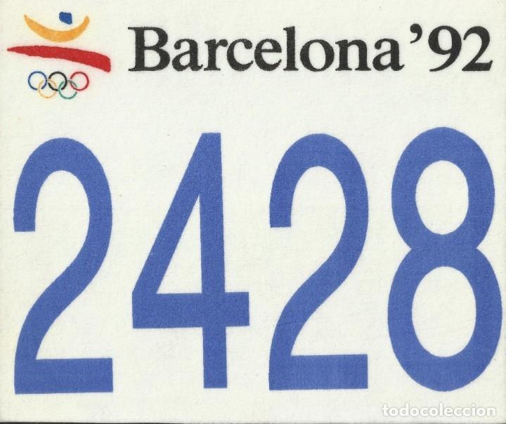 JOSEP MARIA TRIAS. DORSAL ORIGINAL SERIGRAFIADO JUEGOS OLÍMPICOS 1992. Nº 2428. BARCELONA 1992. (Coleccionismo Deportivo - Material Deportivo - Otros deportes)