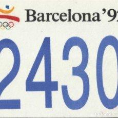 Coleccionismo deportivo: JOSEP MARIA TRIAS. DORSAL ORIGINAL SERIGRAFIADO JUEGOS OLÍMPICOS 1992. Nº 2430. BARCELONA 1992.. Lote 172760948