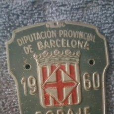 Coleccionismo deportivo: MATRÍCULA BICICLETA 1960 DIPUTACIÓN DE BARCELONA. Lote 174232885