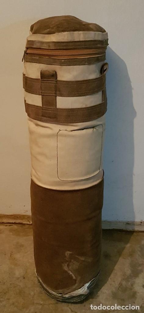 ANTIGUO SACO BOXEO EN PIEL VUELTA Y LONA 90 X 24 (Coleccionismo Deportivo - Material Deportivo - Otros deportes)